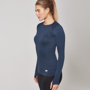 Myprotein Seamless Long Sleeve Top, Dam – Marinblå