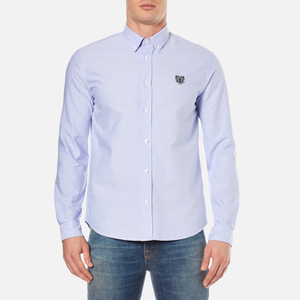 KENZO Men's Casual Fit Oxford Tiger Shirt - Sky Blue