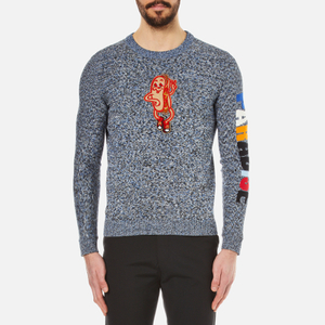 KENZO Men's Badge and Paradise Cotton Knitted Jumper - Anthracite
