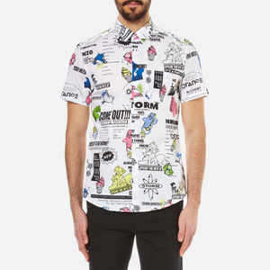 KENZO Men's Cartoon Print Short Sleeve Shirt - White