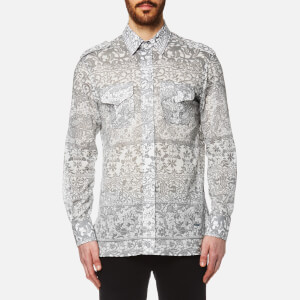 Vivienne Westwood MAN Men's Printed Mussola Military Shirt - Grey Lace