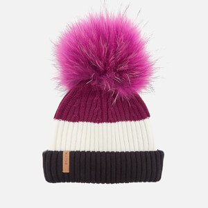 BKLYN Women's Merino Wool Hat with Fuchsia Pink Pom Pom - Black/White/Wine