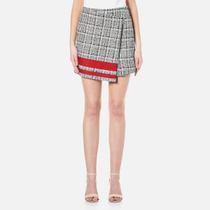 Karl Lagerfeld Women's Boucle Wrap Skirt with Stripe - Multi