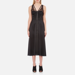 Alexander Wang Women's Midi Length Fluid Skirt Dress with Bustier Detail - Matrix