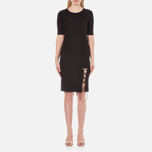 Alexander Wang Women's Crew Neck Short Sleeve Pullover with Back Slit Lacing - Matrix