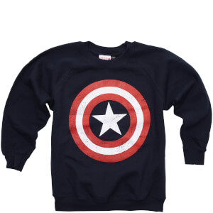 Marvel Boys' Captain America Distress Shield Sweatshirt - Navy
