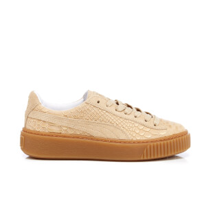 Puma Women's Basket Platform Exotic Skin Trainers - Natural