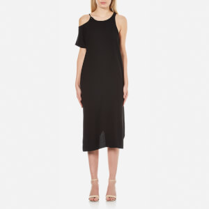 T by Alexander Wang Women's Matte Poly Crepe Eyelet Strap Asymmetrical Dress - Black