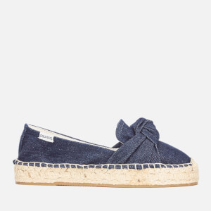 Soludos Women's Knotted Platform Smoking Slipper Espadrilles - Dark Denim