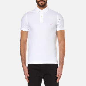 Tommy Hilfiger Men's Slim Fit Small Logo Polo Shirt - Classic White