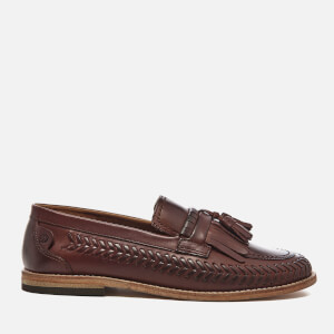 Hudson London Men's Zair Calf Leather Tassle Weave Loafers - Cognac