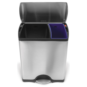 simplehuman Rectangular Brushed Steel Recycler Pedal Bin 46L