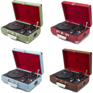 GPO Retro Attache Briefcase Style Three-Speed Portable Vinyl Turntable with Free USB Stick and Built-In Speakers