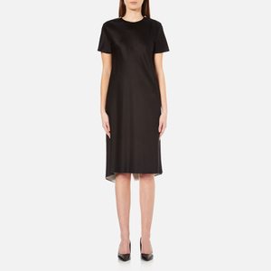 DKNY Women's Short Sleeve Reversible Layered Dress with Back Slit - Black/Gesso