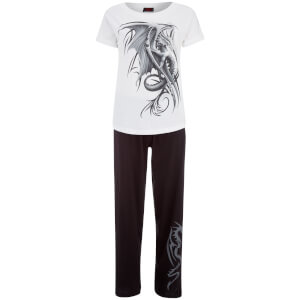 Spiral Women's Wyvern 4 Piece Gothic Pyjama Set - Black/White