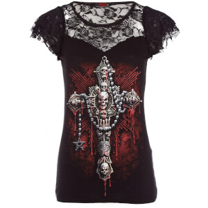 Spiral Women's Death Bones Lace Layered Top - Black
