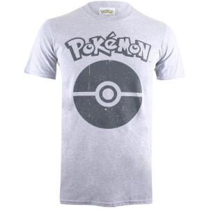 T-Shirt Homme Pokémon Pokéball Symbol - Gris Chiné