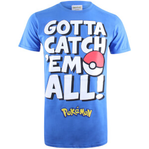 Pokemon Men's Gotta Catch Em Text T-Shirt - Royal Blue