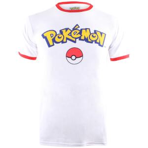 T-Shirt Homme Pokémon Logo - Blanc/Rouge