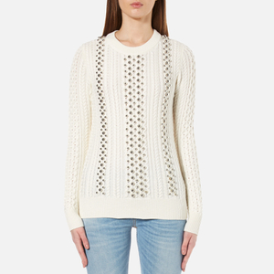 MICHAEL MICHAEL KORS Women's Ball Beads Cable Sweatshirt - White