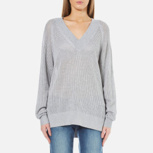 MICHAEL MICHAEL KORS Women's Hi Lo V-Neck Sweatshirt - Peal Heather
