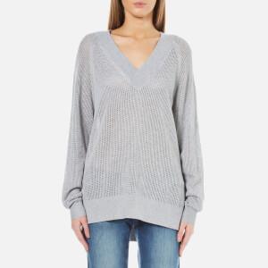 MICHAEL MICHAEL KORS Women's Hi Lo V-Neck Sweatshirt - Peal Heather