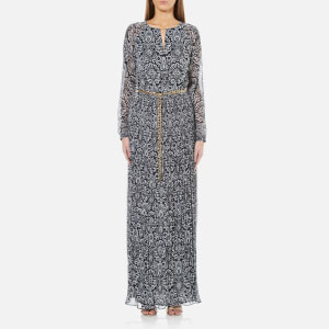 MICHAEL MICHAEL KORS Women's Tapestry Pleat Maxi Dress - New Navy