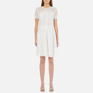 MICHAEL MICHAEL KORS Women's Eyelet Mix Short Sleeve Dress - White