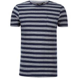 Brave Soul Men's Gravel Stripe T-Shirt - Navy/Ecru