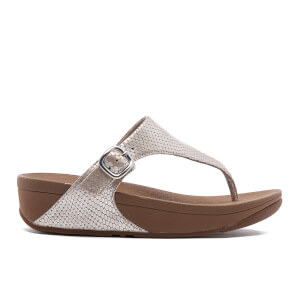 FitFlop Women's The Skinny Leather Toe-Post Sandals - Silver Snake