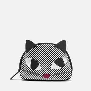 Lulu Guinness Women's Stripe Kooky Cat Crescent Pouch - Black White