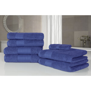 Highams 100% Egyptian Cotton 7 Piece Towel Bale - Blue