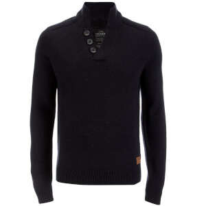 Threadbare Men's Tanner Button Neck Jumper - Navy