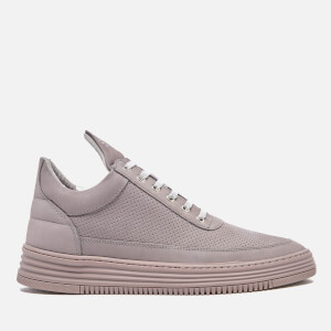 Filling Pieces Men's Perforated Suede Tonal Low Top Trainers - Grey