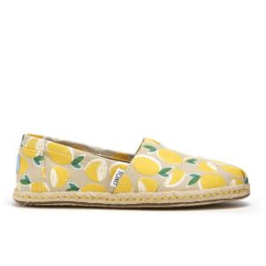 TOMS Women's Seasonal Classic Lemon's Slip-On Pumps - Yellow Lemons Rope Sole