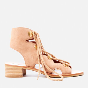 See By Chloé Women's Suede Lace Front Sandals - Powder