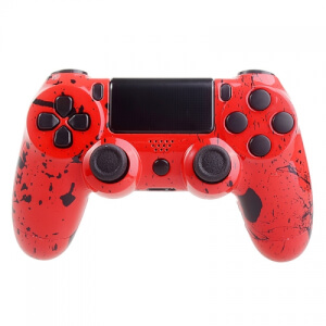 Manette CUstom PlayStation 4 -Rouge et Éclaboussures