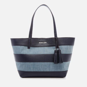 MICHAEL MICHAEL KORS Women's Striped Canvas Large East West Tote Bag - Denim