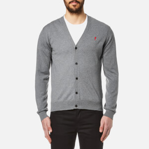 AMI Men's Heart Logo Cardigan - Heather Grey