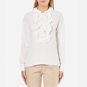 Boutique Moschino Women's Ruffle Neck Blouse - White
