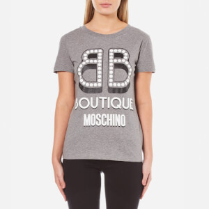 Boutique Moschino Women's Pearl Logo T-Shirt - Grey