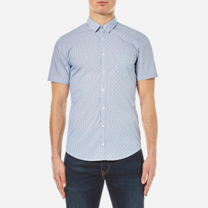 BOSS Orange Men's Eglam Short Sleeve Shirt - Open Blue