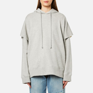 MM6 Maison Margiela Women's Oversized Wide Sleeve Hooded Top - Grey Melange