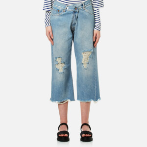 MM6 Maison Margiela Women's Distressed Denim Culottes - Light Cast