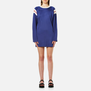 MM6 Maison Margiela Women's Sporty Long Sleeve Dress - Worker Blue Cali Co/Red