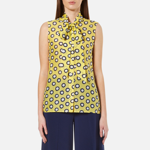 Boutique Moschino Women's Sleeveless Tie Neck Blouse - Yellow