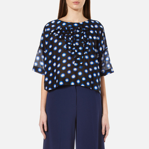 Boutique Moschino Women's Short Sleeve Ruffle Front Blouse - Blue