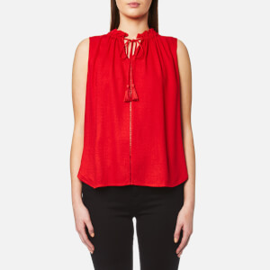 Maison Scotch Women's Sleeveless Top with Ruffle Neckline and Ruffle Inserts - Red