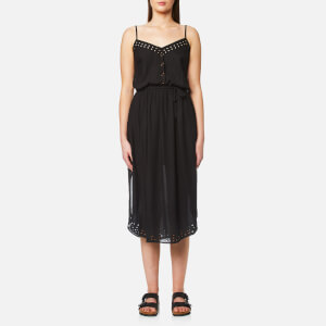 Maison Scotch Women's Strappy Summer Dress with Cutouts and High Shirt Tail Hem - Black