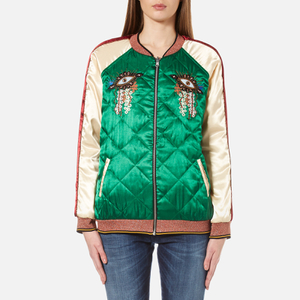 Maison Scotch Women's Reversible Relaxed Fit Bomber Jacket with Embroideries - Multi